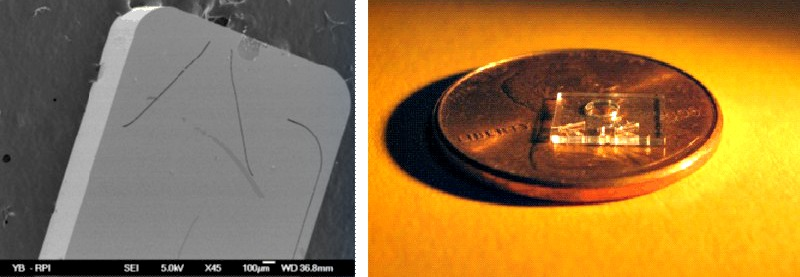Micro-fabricated sensor: (Left) SEM view, the trenches are 14-microns wide and 500-microns deep. (Right) A finished device shown prior to fibers attachment.