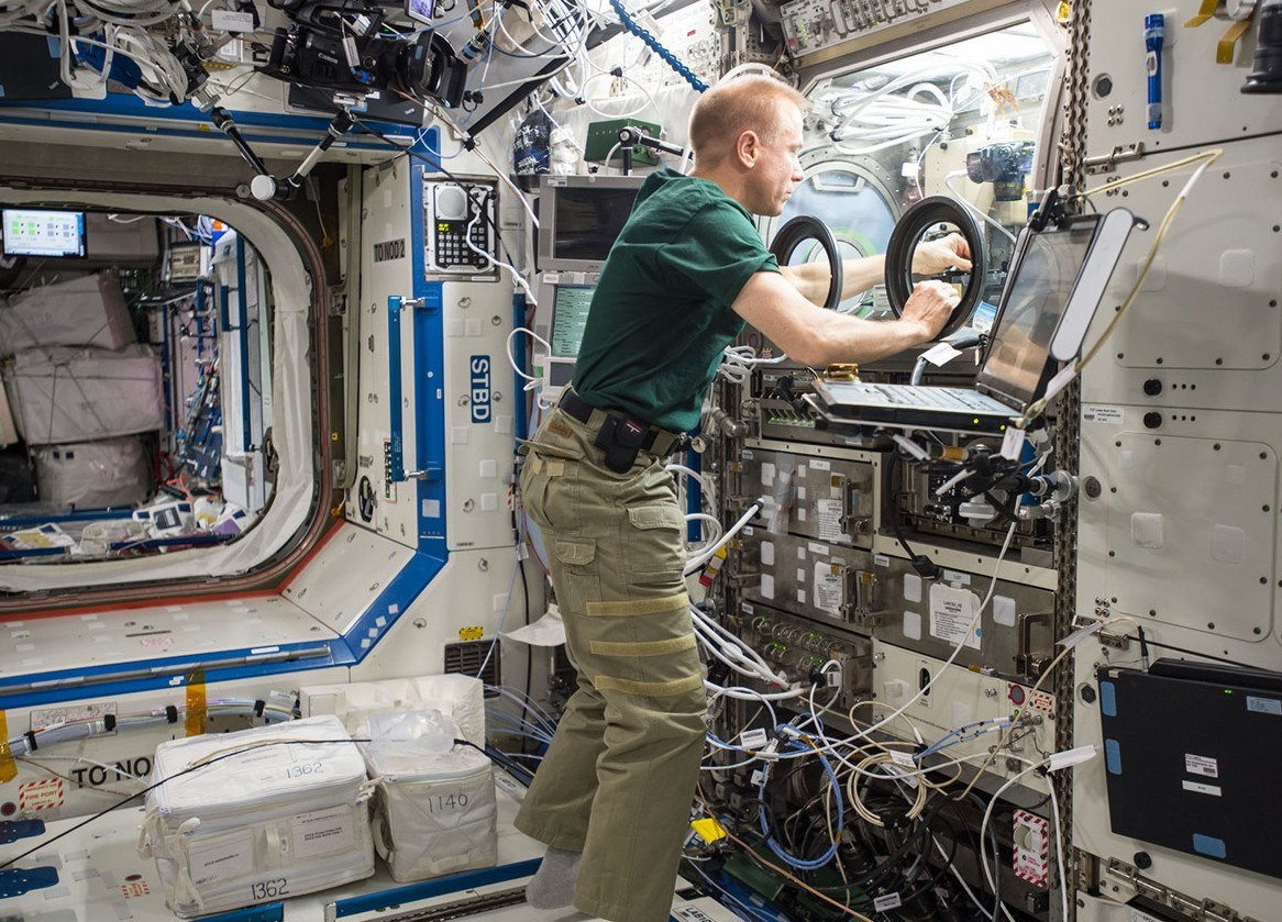 Scientist working onboard the International Space Station